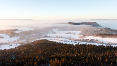 Stolowe Mountains National Park, Foggy, Mist, Landscape, Winter, Poland, 5K