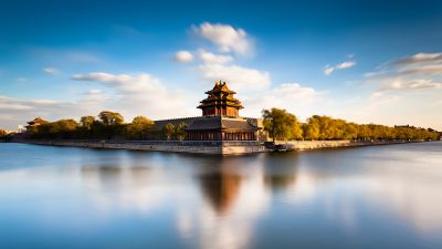 Forbidden City, Beijing, China, Museum, Moat, Imperial Palace, Ming Dynasty, Long exposure, UNESCO World Heritage Site, Body of Water, Reflection, Blue Sky