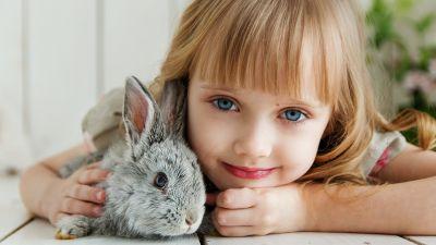 Cute Girl, Rabbit, Smiling girl, Blue eyes, Happiness, Joy, Pretty, Adorable