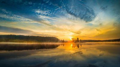 Sunrise, Yellowstone National Park, Mirror Lake, Body of Water, Misty, Clouds, Morning light, Reflection, 5K