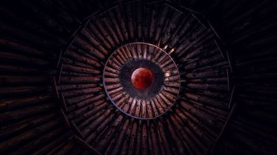 Blood Moon, Looking up at Sky, Stars, Circular, Pattern, Wood, Photoshop, 5K