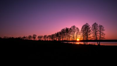 Rusutjärvi, Finland, Landscape, Sunset, Purple sky, Silhouette, Trees, Lake, Scenery, Dusk