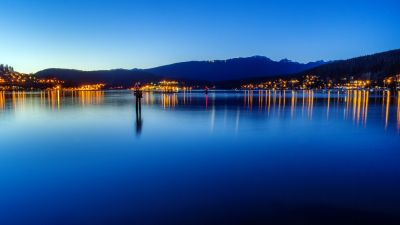 Burrard Inlet, Fjord, Canada, British Columbia, Port Moody, City lights, Seascape, Dusk, Landscape, Reflection, Long exposure, Blue Sky, Body of Water