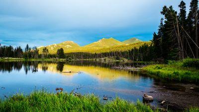 Sprague Lake, Rocky Mountain National Park, Colorado, Landscape, Green Trees, Blue Sky, Beautiful, Scenery, Reflection, 5K