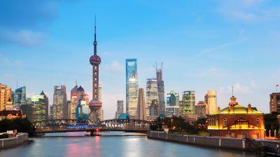 Waibaidu Bridge, Oriental Pearl Tower, Shanghai, China, Huangpu River, Cityscape, City lights, Skyscrapers, Skyline, Body of Water, Blue Sky, Tourist attraction, Landmark, 5K