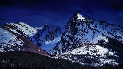 Glacier mountains, Snow covered, Dark Sky, Green Trees, Mountain Peak, Winter, Landscape