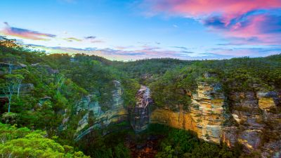 Wentworth Falls, Blue mountains, Australia, National Park, Long exposure, Sunset, Cliffs, Forest, Green Trees, Greenery, HDR, Landscape, Clear sky, 5K