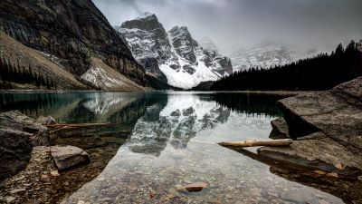 Moraine Lake, Canada, Reflection, Landscape, Snow covered, Glacier mountains, Foggy, Rocks, Clear water, Mirror Lake, 5K