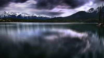 Pyramid Lake, Canada, Dark clouds, Landscape, Long exposure, Glacier mountains, Snow covered, Reflection, Body of Water