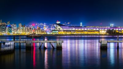 Kwun Tong Ferry Pier, Hong Kong, Victoria Harbour, Kai Tak Cruise Terminal, Cityscape, City lights, Night time, Dark blue, Long exposure, Body of Water, Reflection, Skyscrapers