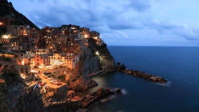 Manarola, Cinque Terre, Italy, Seascape, City lights, Dusk, Tourist attraction, Seaside village, Clouds, Long exposure