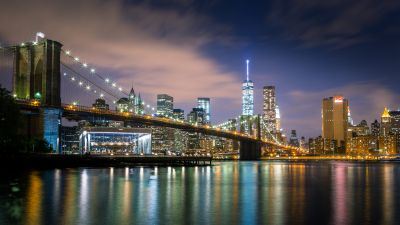 Brooklyn Bridge, New York, Cityscape, City lights, Body of Water, Reflections, Skyscrapers, Suspension bridge, Skyline, Night time