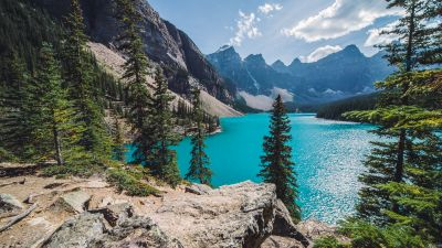 Moraine Lake, Canada, Banff National Park, Valley of the Ten Peaks, Turquoise water, Landscape, Mountain range, Clouds, Scenery, Sunny day