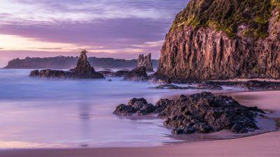 Cathedral Rocks, Australia, Volcanic Sea Stack, Rock formations, Rocky coast, Sunrise, Cliff, Landscape, Tourist attraction, Purple sky, Long exposure, 5K