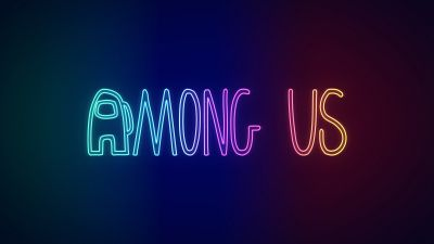 Among Us, Neon, iOS Games, Android Games, PC Games, Gradient background