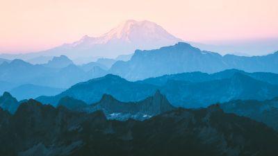 Cascade Range, Mountain range, Foggy, Morning, Layers, Mountains