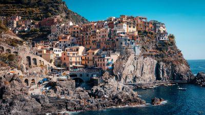 Cinque Terre, Coastline, Buildings, Town, Rocks, Harbor, Cliff, Italy, 5K