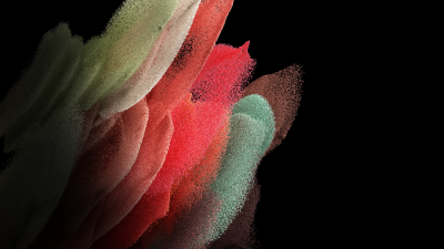 Samsung Galaxy S21, Stock, AMOLED, Particles, Magenta, Black background