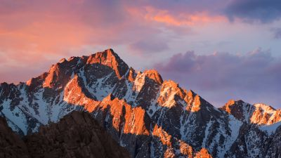 macOS Sierra, Mountain, Peak, Sunset, Evening, Stock, 5K