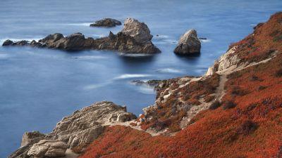 Coastline, Seashore, Rocks, macOS Big Sur, Stock, 5K