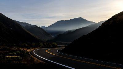 Road, Mountains, Tarmac, Sunrise, Morning, macOS Big Sur, Stock, 5K