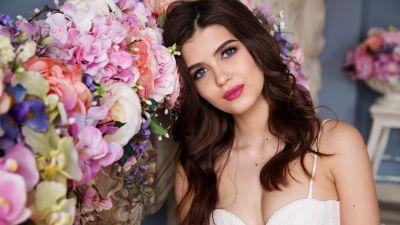 Beautiful girl, Fashion, Makeup, Flowers, Portrait