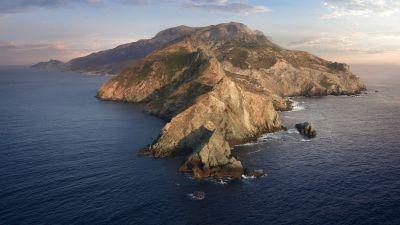 macOS Catalina, Mountains, Island, Morning, Stock, 5K