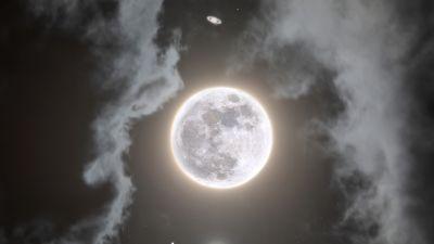 Moon, Jupiter, Saturn, Composition, Night, Dark, Cloudy, Surreal, 5K