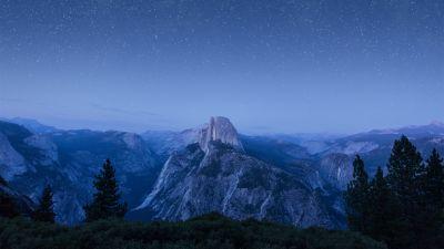 OS X El Capitan, Summit, Night, Starry sky, Mountains, Landscape, California, 5K