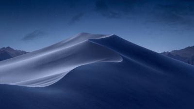 macOS Mojave, Sand Dunes, Mojave Desert, California, Night, Dark, Moon light, 5K, Stock