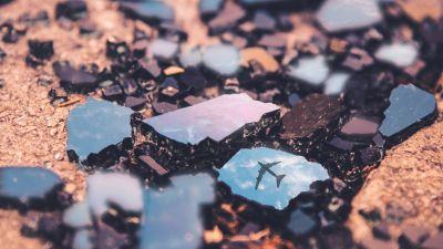 Flight, Broken rocks, Reflection, Macro, Crystals