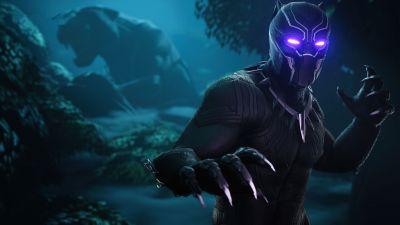 Black Panther, Fortnite, Skin, Dark, 2020 Games, Neon