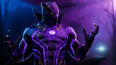 Black Panther, Fortnite, Skin, 2020 Games, Neon