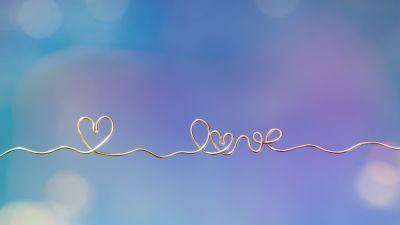Love heart, Heart symbol, Golden letters, Bokeh, Aesthetic