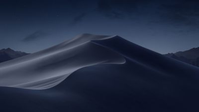 macOS Mojave, Sand Dunes, Mojave Desert, California, Night, Dark, 5K, Stock