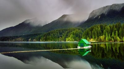 Floating Cabin, Capilano Lake, North Vancouver, Landscape, Green Trees, Mountains, Reflection, Body of Water, Foggy