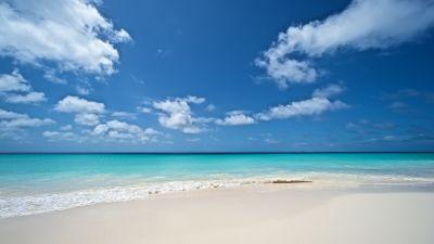 Beach, Seascape, Turquoise water, Ocean blue, Waves, Horizon, Clouds, Blue Sky, Calm, Landscape, Scenery, 5K