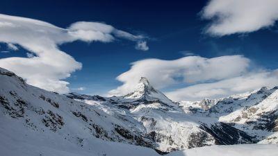 Matterhorn, Mountain Peak, Pennine Alps, Switzerland, Landscape, Clouds, Winter, Snow covered, Scenery