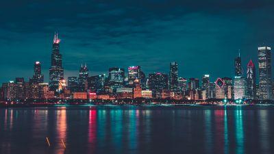Chicago, Night, City lights, Cityscape, Reflections, Skyline, 5K