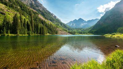 Marron Bells, Elk Mountains, Maroon Peak, Colorado, Lakes, Landscape, Clear Water, Reflection, Scenery, 5K