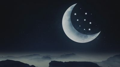 Half moon, Stars, Mountains, Night, Cold, Aesthetic