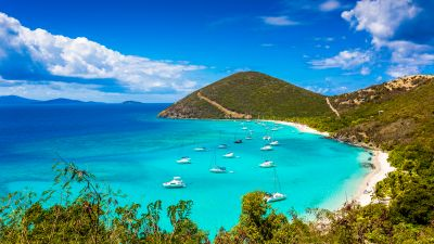Jost Van Dyke, British Virgin Islands, Beach, Boats, Clouds, Turquoise water, Landscape, Tropical, Seascape, Beautiful, Scenic, Blue Sky