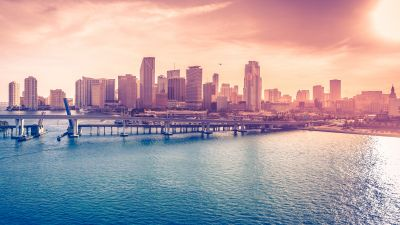 Miami Downtown, Florida, Acosta Bridge, City Skyline, Cityscape, Skyscrapers, Body of Water, Sunset, Pink sky, 5K