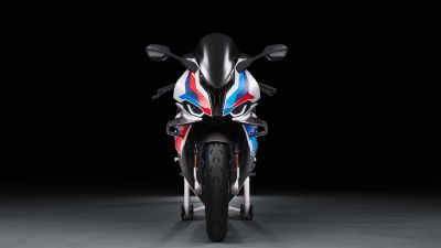 BMW M 1000 RR, Superbikes, Black background, 2021, 5K