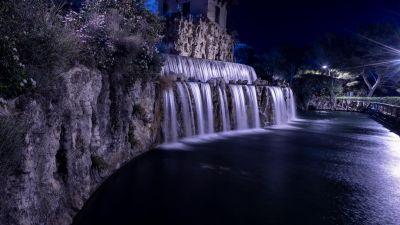 Cascade Gairaut, Gairaut waterfall, Historical landmark, Night, Nice, France