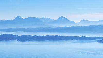 Isle of Skye, Scotland, Island, Mountain range, Wester Ross, Sound of Raasay, Foggy, Blue Sky, Panorama, Landscape, Scenery, 5K