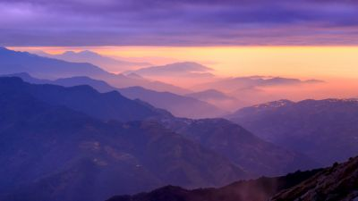 Mountain range, Sunset, Purple sky, Foggy, Clouds, Landscape, Aerial view