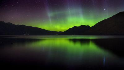 Southern lights, Aurora Borealis, Polar Lights, Northern Lights, Lake, Night time, Reflection, Starry sky, Landscape, 5K