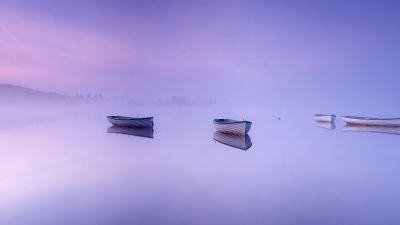 Loch Rusky, Scotland, Boats, Foggy, Mirror Lake, Reflection, Purple background, Scenery, Landscape, 5K