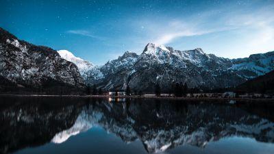 Almsee, Lake Alm, Austria, Landscape, Mountain range, Glacier mountains, Snow covered, Peaks, Reflection, Blue Sky, Stars, Scenery, 5K